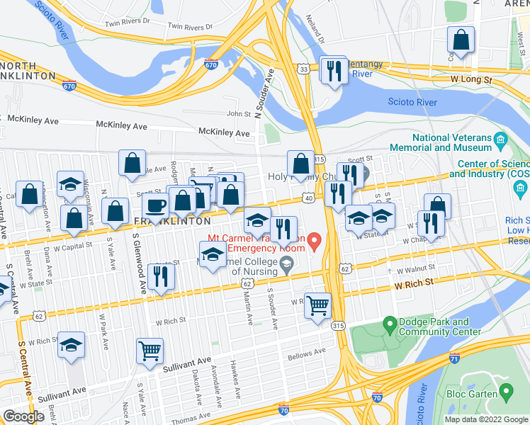 map of restaurants, bars, coffee shops, grocery stores, and more near 815 West Broad Street in Columbus