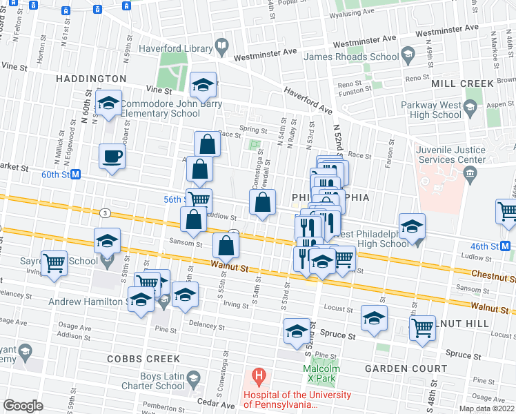 map of restaurants, bars, coffee shops, grocery stores, and more near 20 South Yewdall Street in Philadelphia