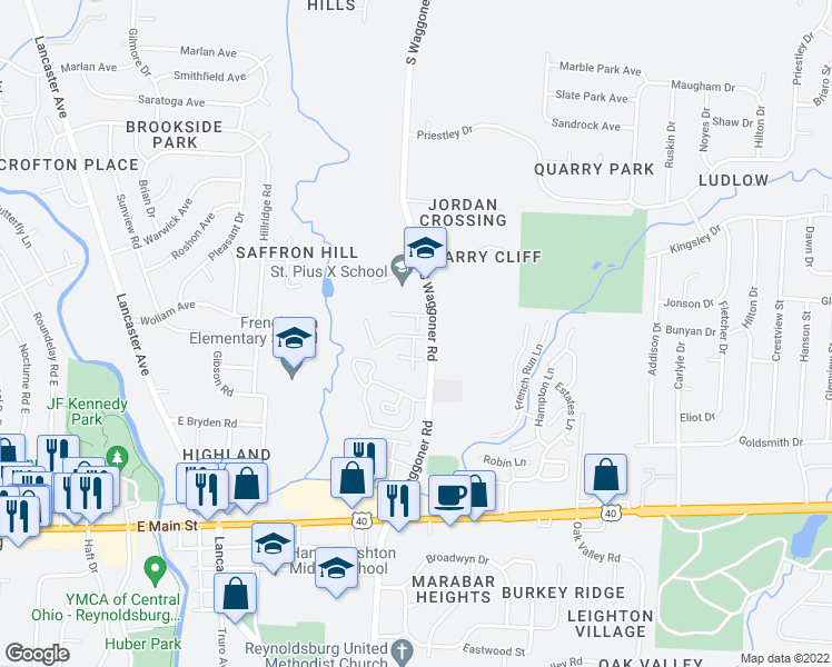 map of restaurants, bars, coffee shops, grocery stores, and more near 7620 Ridgemont Court in Reynoldsburg