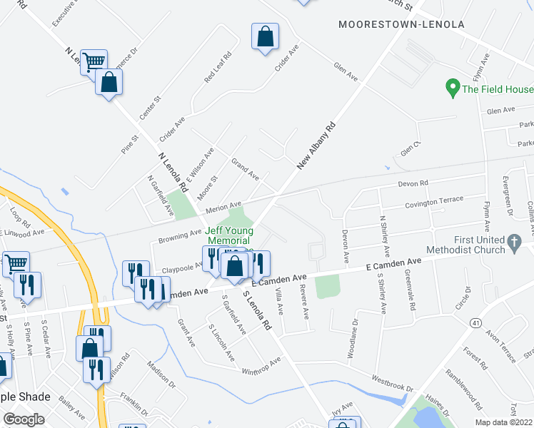 map of restaurants, bars, coffee shops, grocery stores, and more near 135 New Albany Rd in Moorestown