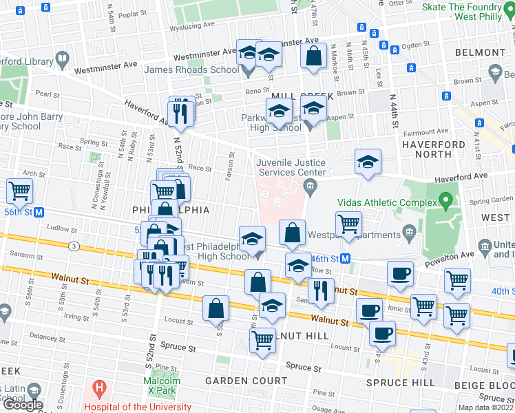 map of restaurants, bars, coffee shops, grocery stores, and more near 118 N 49th St in Philadelphia