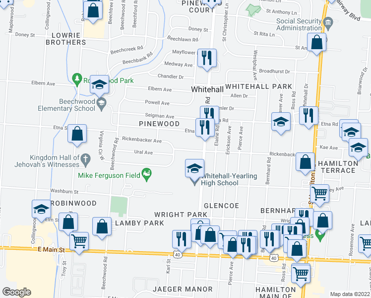 map of restaurants, bars, coffee shops, grocery stores, and more near 4227 Rickenbacker Avenue in Columbus