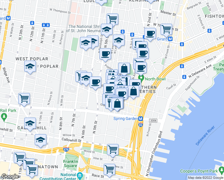 map of restaurants, bars, coffee shops, grocery stores, and more near 720 N 4th St in Philadelphia