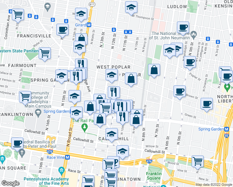 map of restaurants, bars, coffee shops, grocery stores, and more near North 11th Street & Wallace Street in Philadelphia