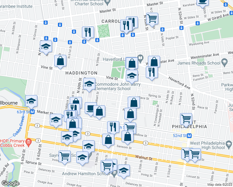 map of restaurants, bars, coffee shops, grocery stores, and more near N Alden St in Philadelphia