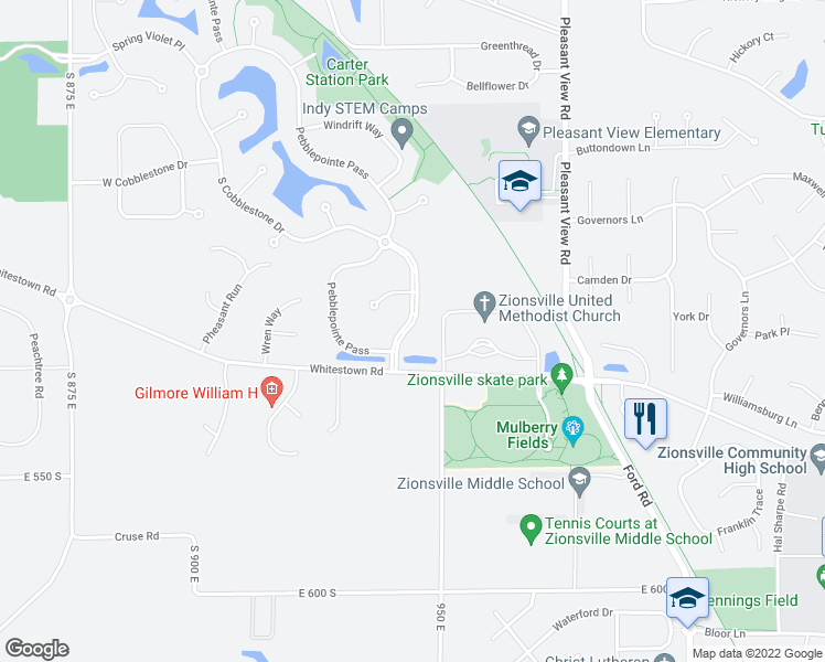 map of restaurants, bars, coffee shops, grocery stores, and more near South Cobblestone Drive in Zionsville