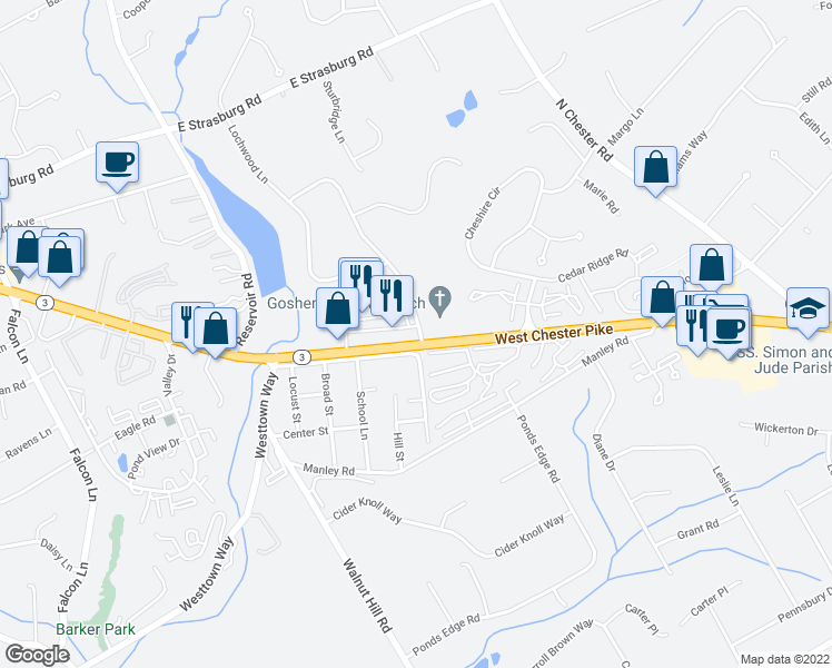 map of restaurants, bars, coffee shops, grocery stores, and more near Waterview Road in West Chester