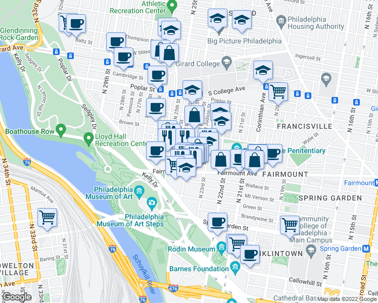 map of restaurants, bars, coffee shops, grocery stores, and more near N 24th St & Aspen St in Philadelphia