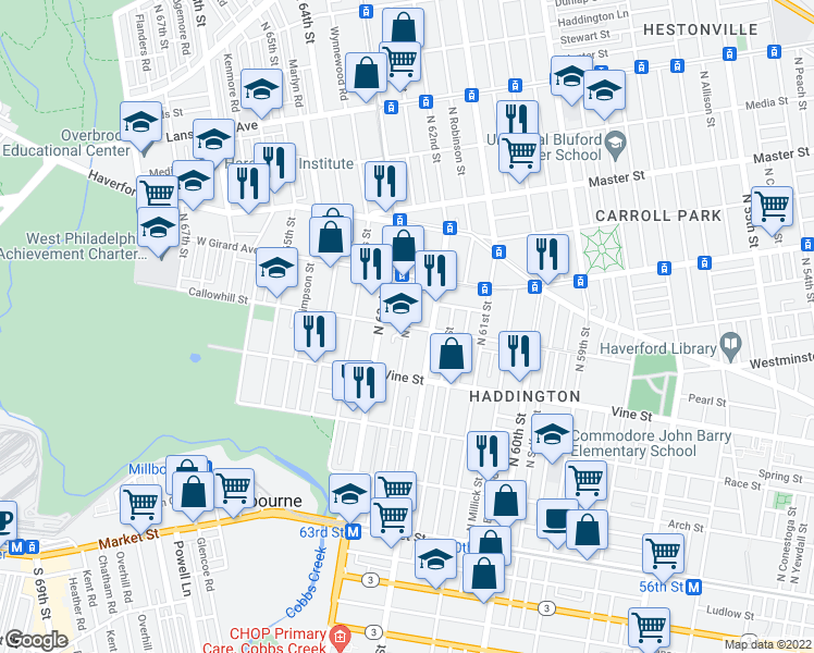 map of restaurants, bars, coffee shops, grocery stores, and more near Callowhill Street & North Felton Street in Philadelphia