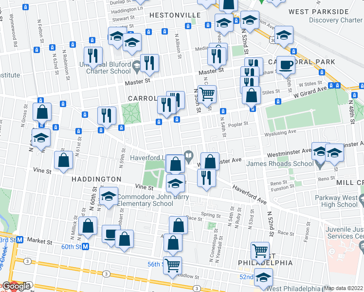 map of restaurants, bars, coffee shops, grocery stores, and more near North 56th Street & Wyalusing Avenue in Philadelphia