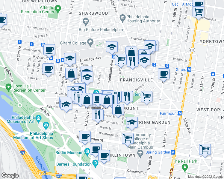 map of restaurants, bars, coffee shops, grocery stores, and more near 2017 Brown St in Philadelphia