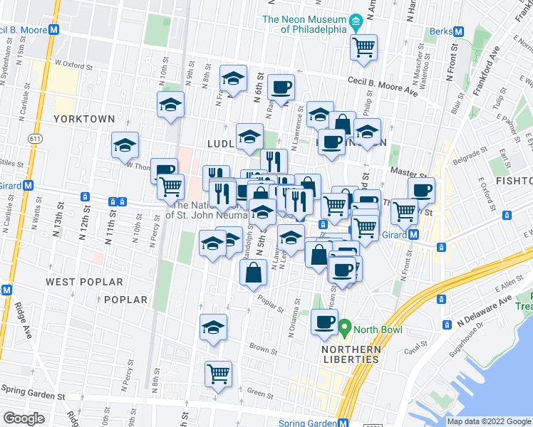 map of restaurants, bars, coffee shops, grocery stores, and more near North 5th Street & West Girard Avenue in Philadelphia
