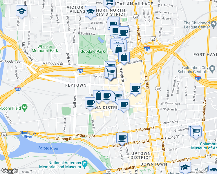map of restaurants, bars, coffee shops, grocery stores, and more near 415 North Front Street in Columbus