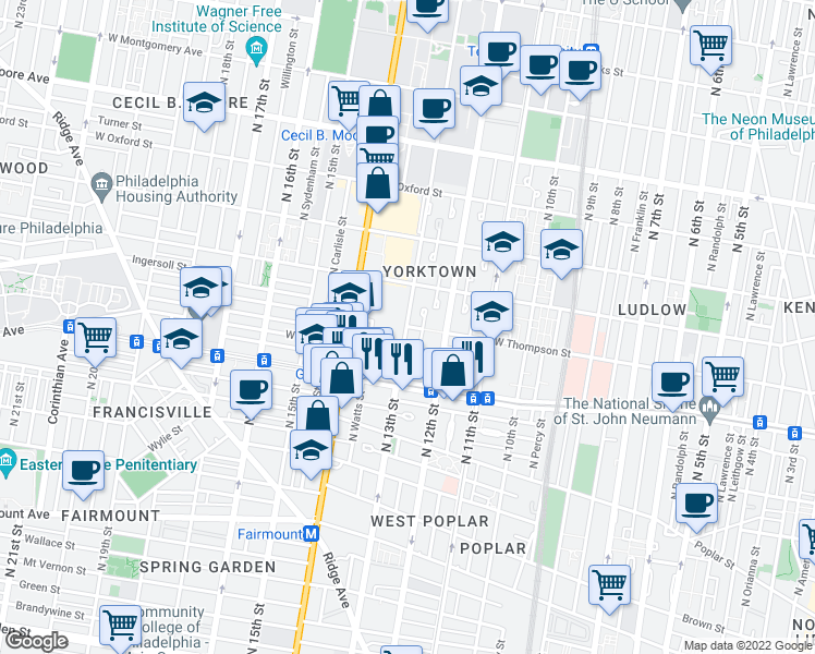 map of restaurants, bars, coffee shops, grocery stores, and more near N 13th St & W Thompson St in Philadelphia