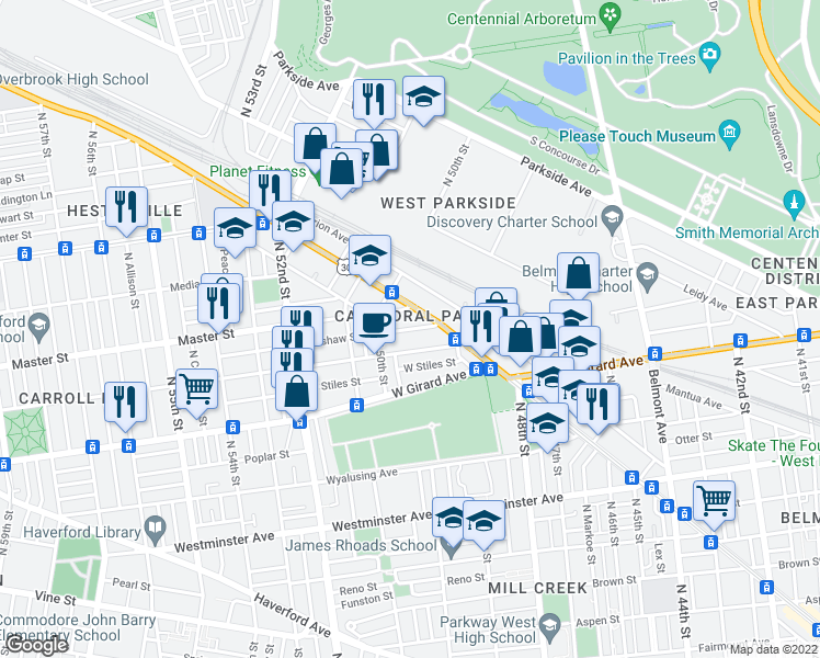 map of restaurants, bars, coffee shops, grocery stores, and more near 4949 W Thompson St in Philadelphia