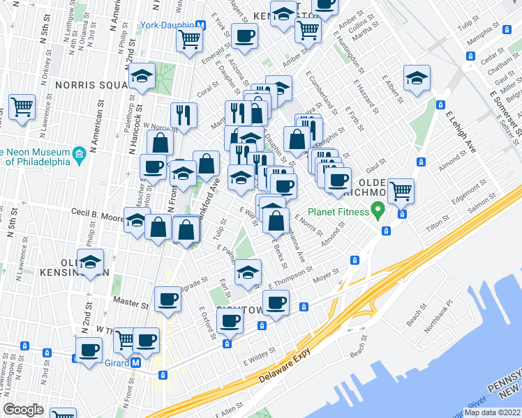 map of restaurants, bars, coffee shops, grocery stores, and more near Cedar Street & East Berks Street in Philadelphia