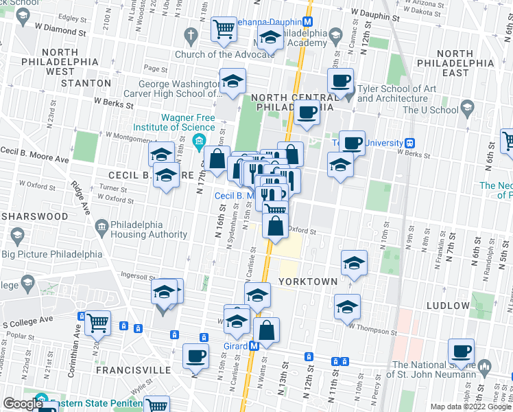 map of restaurants, bars, coffee shops, grocery stores, and more near 1601 North 15th Street in Philadelphia