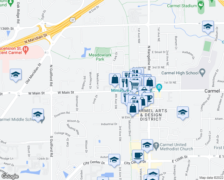map of restaurants, bars, coffee shops, grocery stores, and more near 424 West Main Street in Carmel