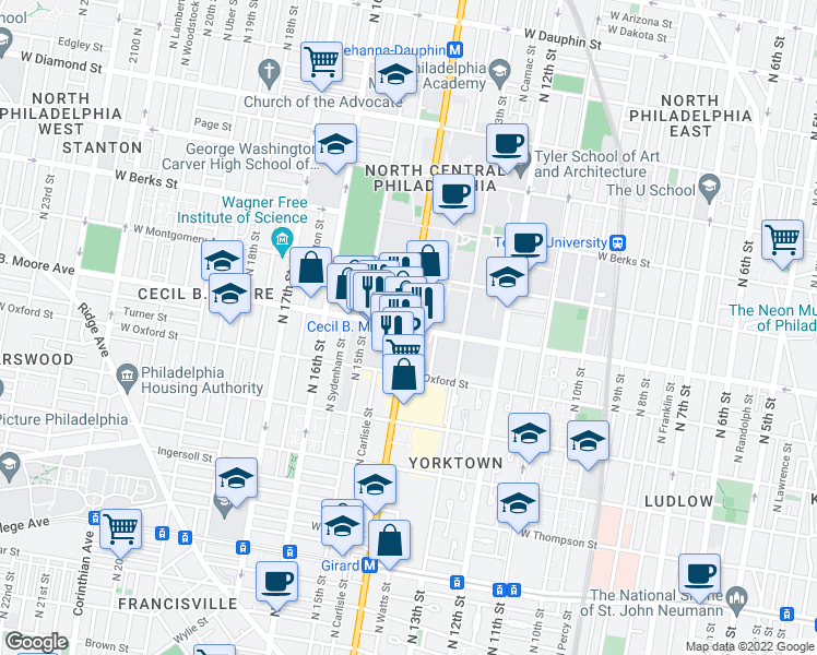 map of restaurants, bars, coffee shops, grocery stores, and more near North Broad Street & Cecil B. Moore Avenue in Philadelphia