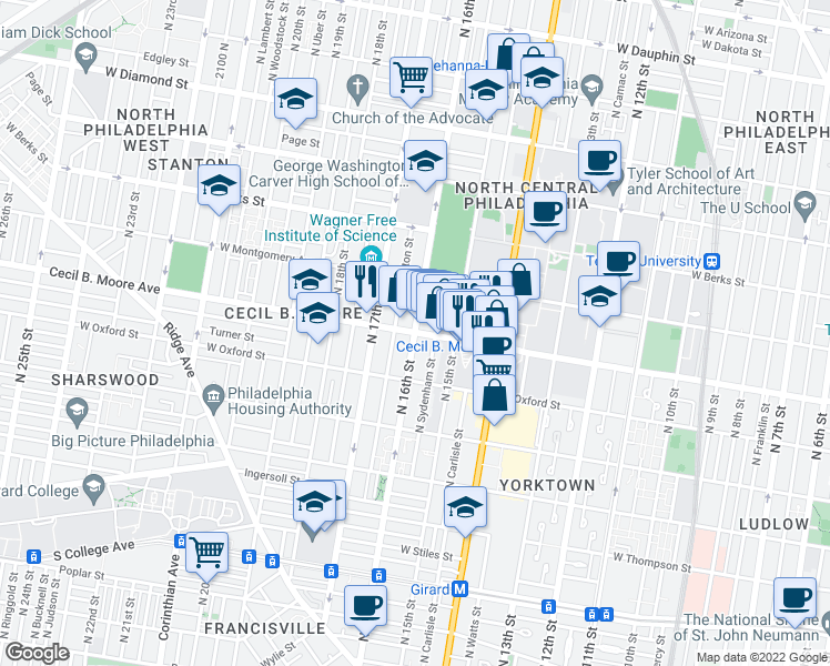 map of restaurants, bars, coffee shops, grocery stores, and more near N 16th St & Cecil B Moore Ave in Philadelphia