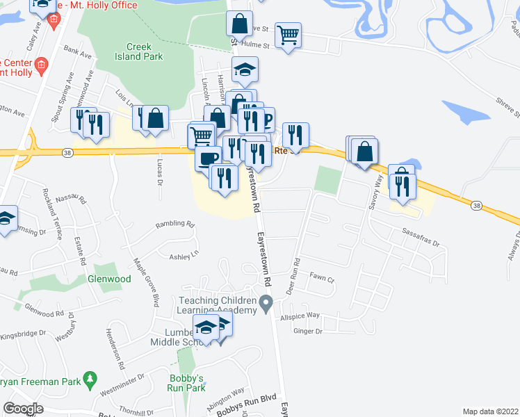 map of restaurants, bars, coffee shops, grocery stores, and more near Deer Run in Lumberton