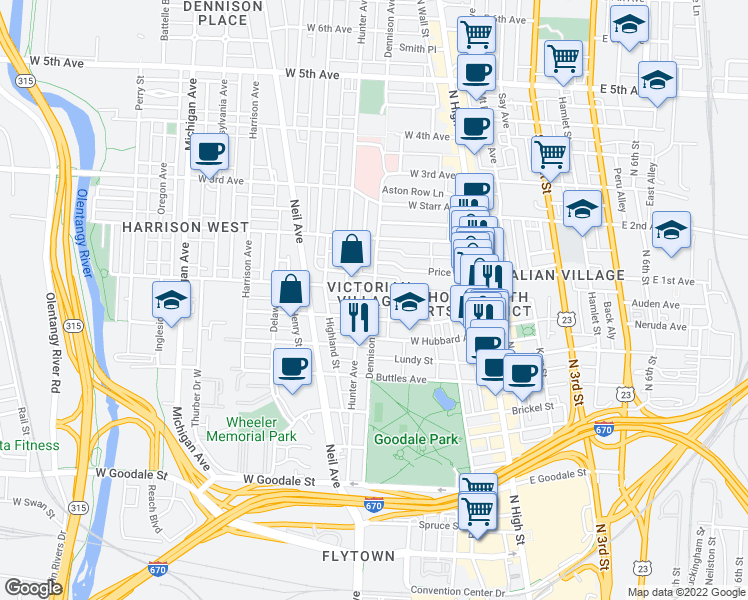 map of restaurants, bars, coffee shops, grocery stores, and more near 884 Dennison Avenue in Columbus