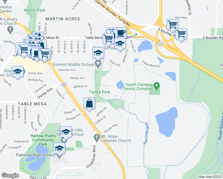 map of restaurants, bars, coffee shops, grocery stores, and more near 1057 Tantra Park Circle in Boulder