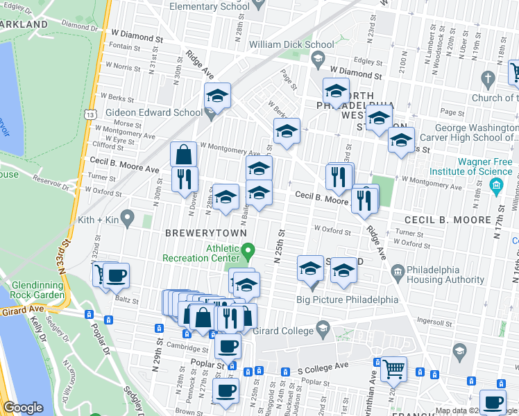 map of restaurants, bars, coffee shops, grocery stores, and more near Turner Street in Philadelphia