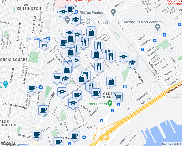 map of restaurants, bars, coffee shops, grocery stores, and more near 2445 Tulip St in Philadelphia