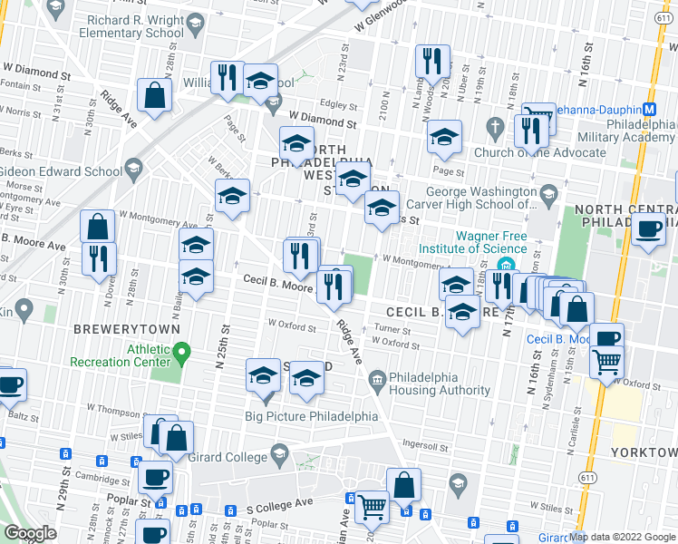 map of restaurants, bars, coffee shops, grocery stores, and more near North 22nd Street in Philadelphia