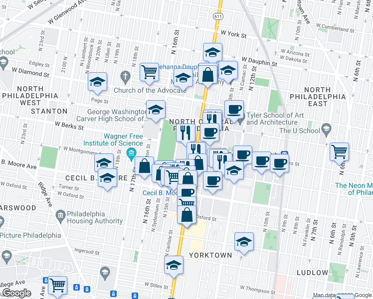 map of restaurants, bars, coffee shops, grocery stores, and more near 1801 N Broad St in Philadelphia