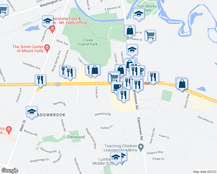map of restaurants, bars, coffee shops, grocery stores, and more near 1633 State Highway 38 in Mt Holly