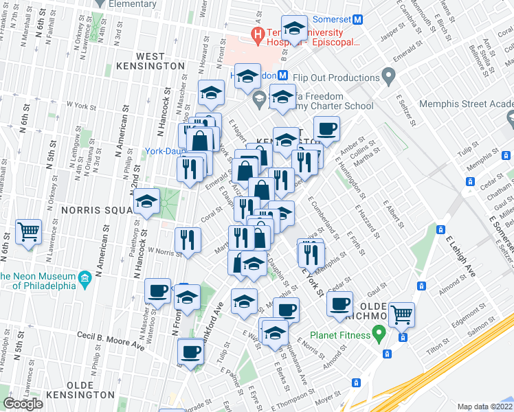 map of restaurants, bars, coffee shops, grocery stores, and more near 2070 East York Street in Philadelphia