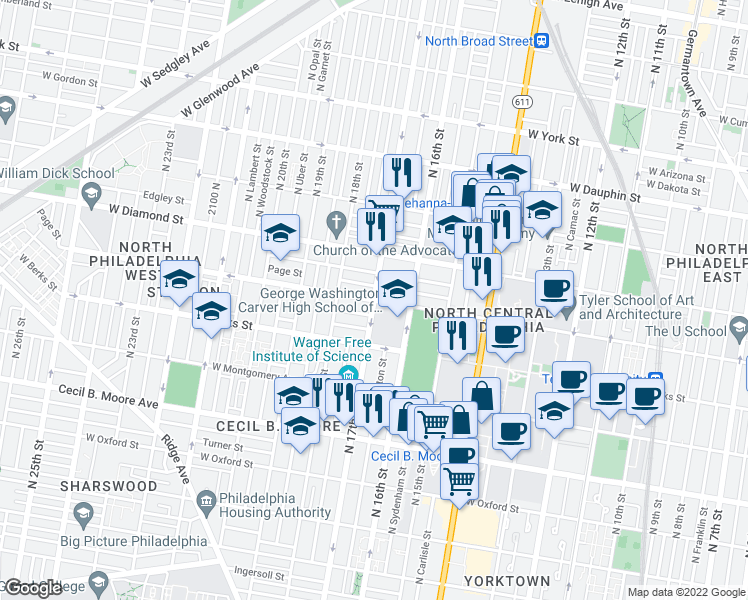 map of restaurants, bars, coffee shops, grocery stores, and more near North 17th Street & West Norris Street in Philadelphia