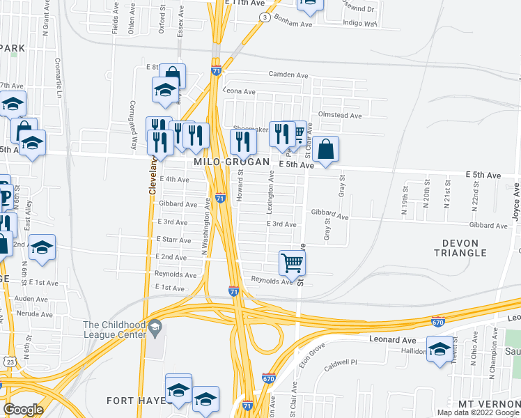 map of restaurants, bars, coffee shops, grocery stores, and more near 819 Gibbard Ave in Columbus
