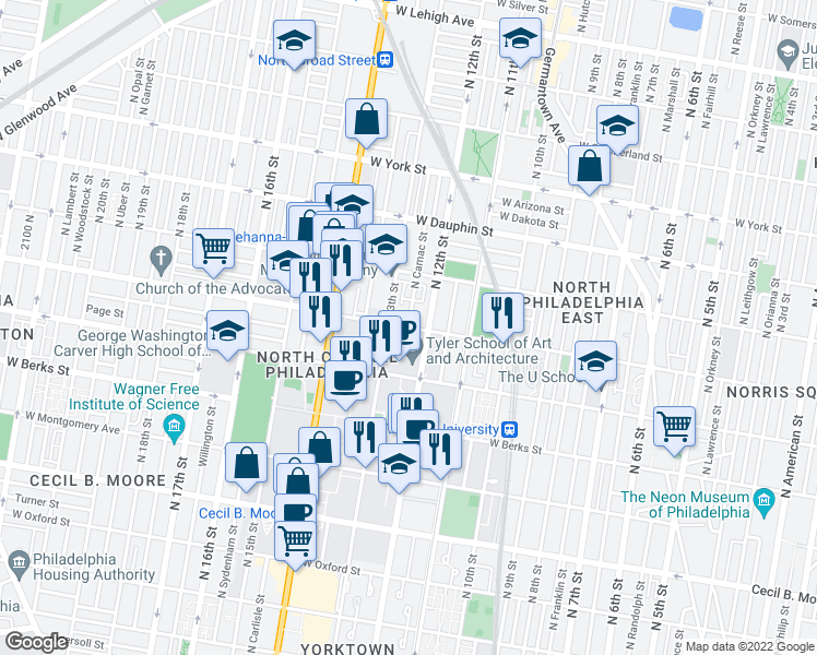 map of restaurants, bars, coffee shops, grocery stores, and more near Diamond St & N Camac St in Philadelphia