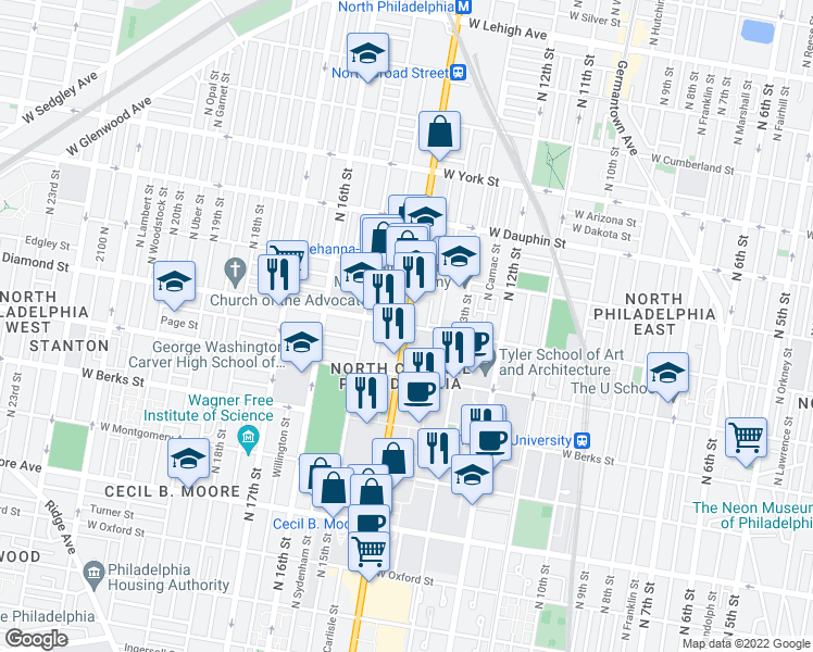 map of restaurants, bars, coffee shops, grocery stores, and more near N Broad St & Diamond St in Philadelphia