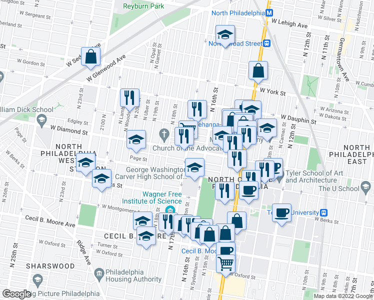 map of restaurants, bars, coffee shops, grocery stores, and more near N 17th St & W Diamond St in Philadelphia
