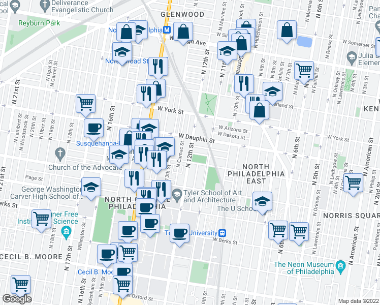 map of restaurants, bars, coffee shops, grocery stores, and more near N 12th St & W Colona St in Philadelphia