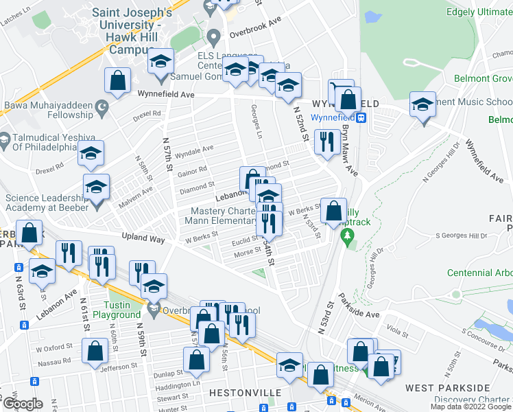 map of restaurants, bars, coffee shops, grocery stores, and more near N 54th St & Arlington St in Philadelphia