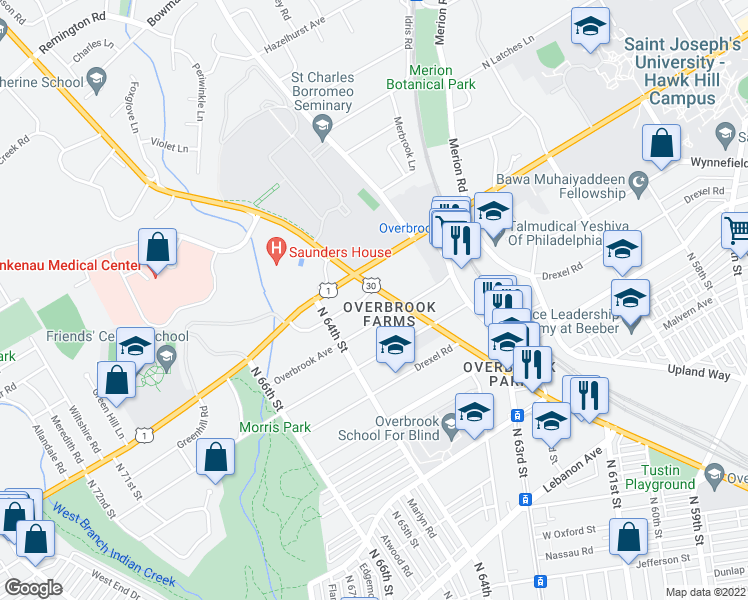 map of restaurants, bars, coffee shops, grocery stores, and more near 6370 Church Rd in Philadelphia