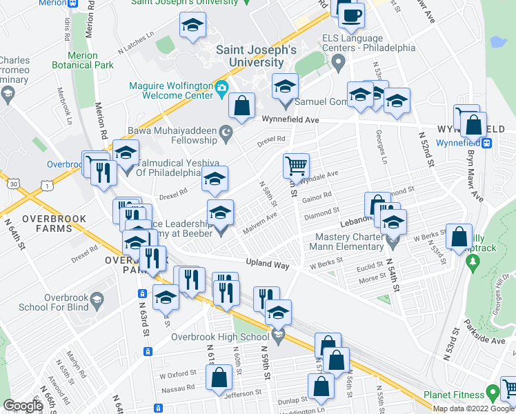 map of restaurants, bars, coffee shops, grocery stores, and more near 2226 N Wanamaker St in Philadelphia