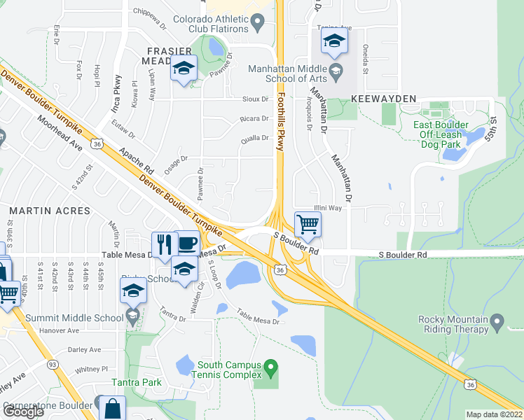 map of restaurants, bars, coffee shops, grocery stores, and more near 4940 Thunderbird Drive in Boulder