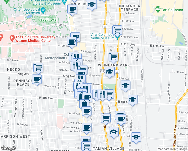 map of restaurants, bars, coffee shops, grocery stores, and more near Indianola Ave & E 7th Ave in Columbus