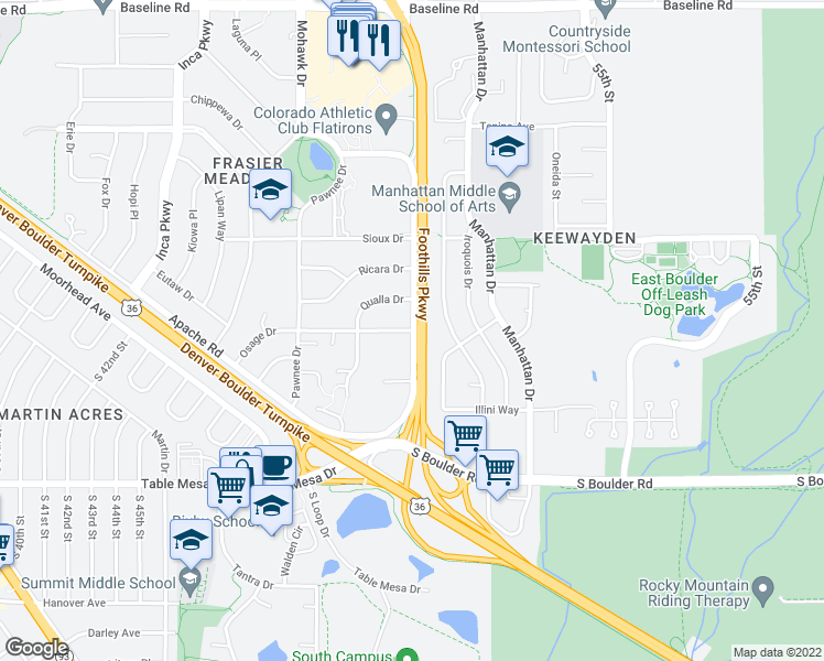 map of restaurants, bars, coffee shops, grocery stores, and more near 4990 Osage Drive in Boulder