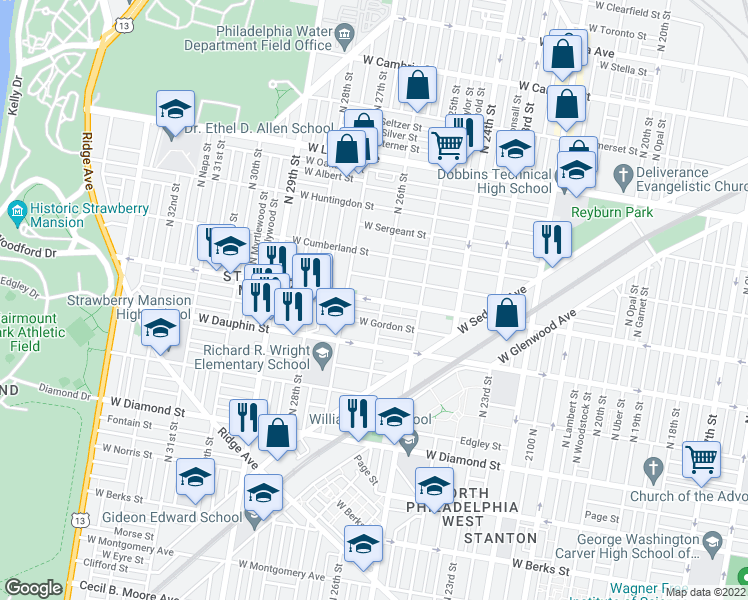 map of restaurants, bars, coffee shops, grocery stores, and more near 2614 W Arizona St in Philadelphia
