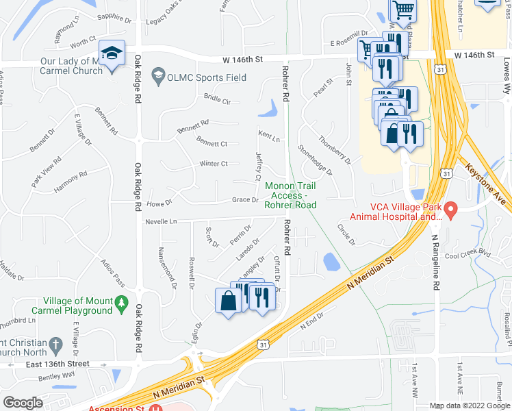 map of restaurants, bars, coffee shops, grocery stores, and more near 905 Grace Drive in Carmel
