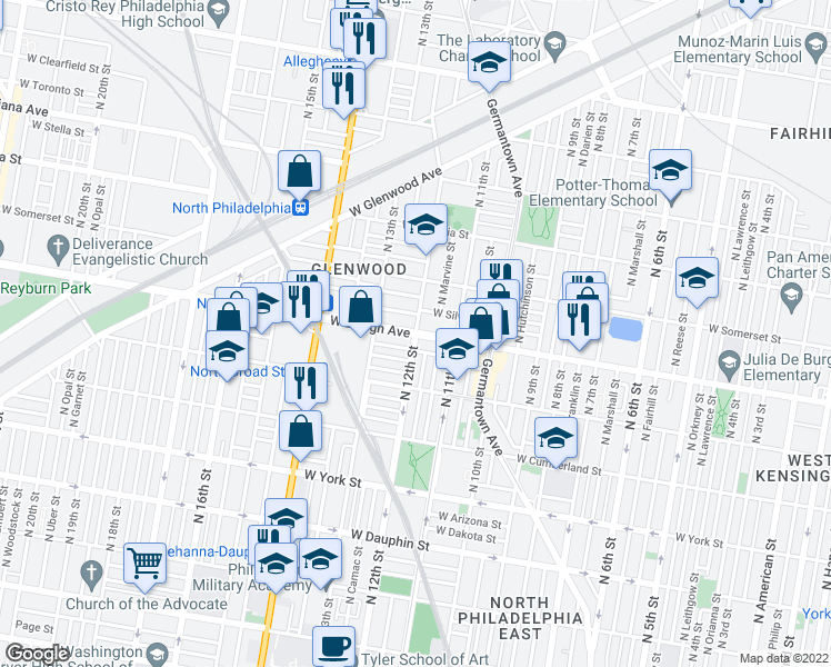 map of restaurants, bars, coffee shops, grocery stores, and more near N 12th St & W Lehigh Ave in Philadelphia