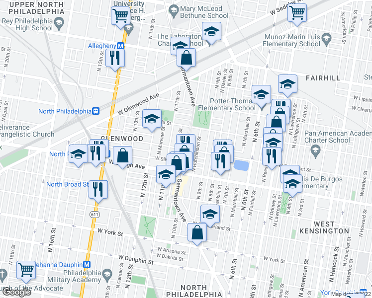 map of restaurants, bars, coffee shops, grocery stores, and more near Germantown Ave & W Somerset St in Philadelphia