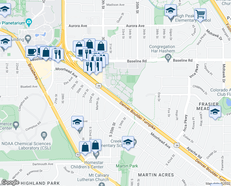 map of restaurants, bars, coffee shops, grocery stores, and more near 3375 Moorhead Avenue in Boulder